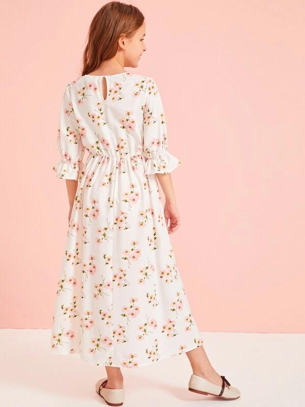 Girls V-Neck Bell Sleeve Floral Dress