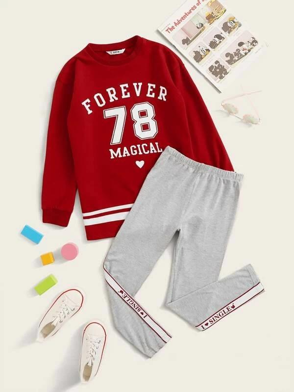 Girls Varsity Print Pullover & Tape Side Leggings Set