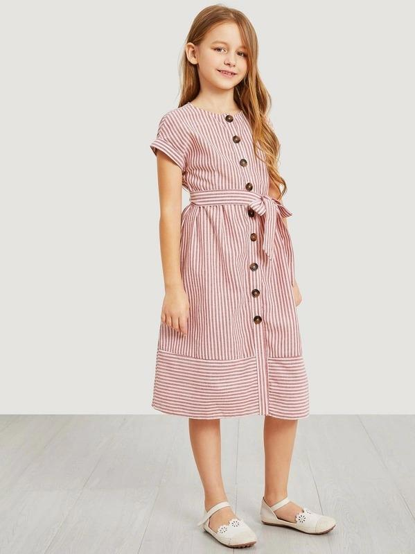 Girls Waist Belted Single Breasted Striped Dress
