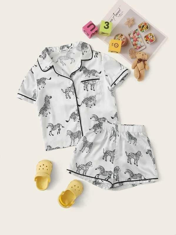 Girls Zebra Pocket Satin Top & Shorts PJ Set