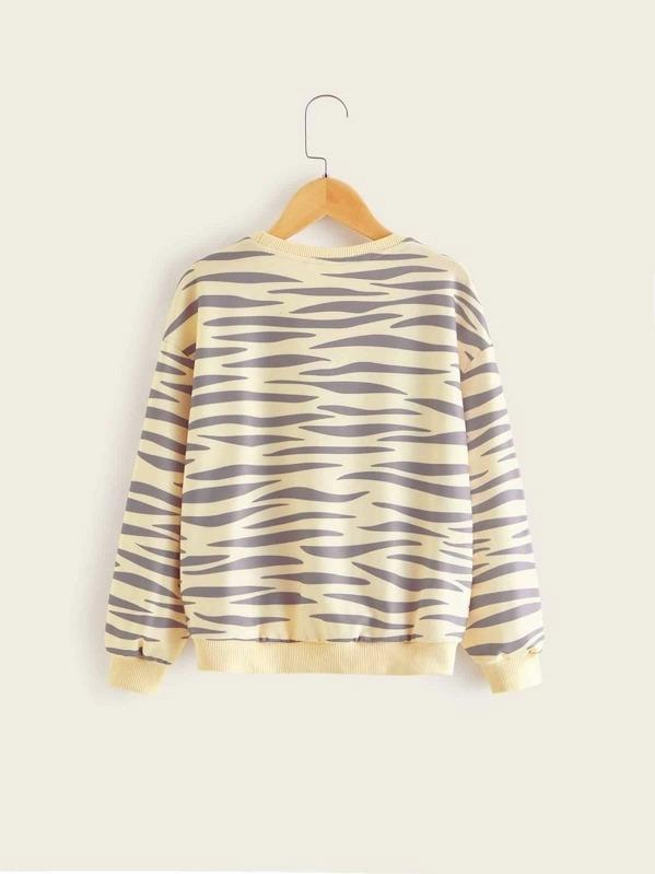 Girls Zebra Striped Sequin Lip Pullover
