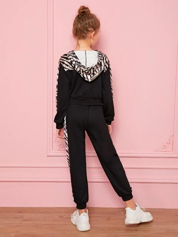 Girls Zebra Velvet Panel Hoodie And Sweatpants Set