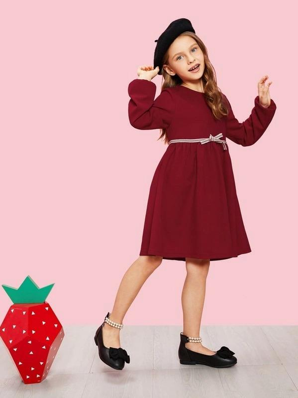 Girls Zip Back Bow Front Dress