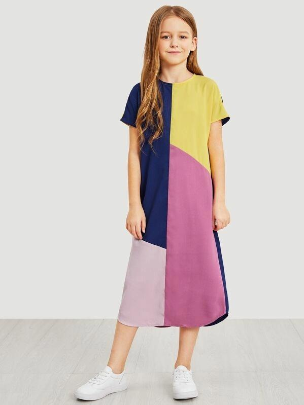 Girls Zip Back Color Block Dress