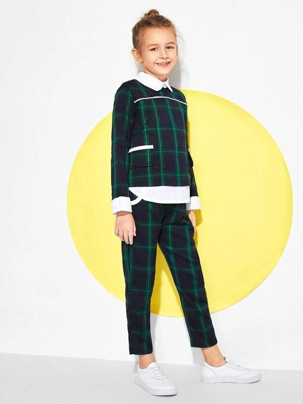 Girls Zip Back Contrast Trim Plaid Top With Pants
