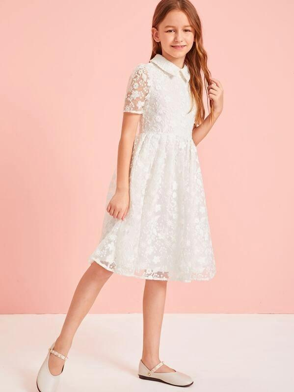 Girls Zip Back Embroidered Mesh A-Line Dress