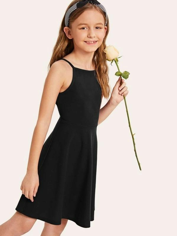 Girls Zip Back Fit & Flare Dress