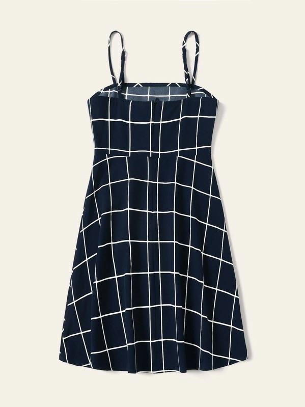 Girls Zip Back Grid Cami Dress