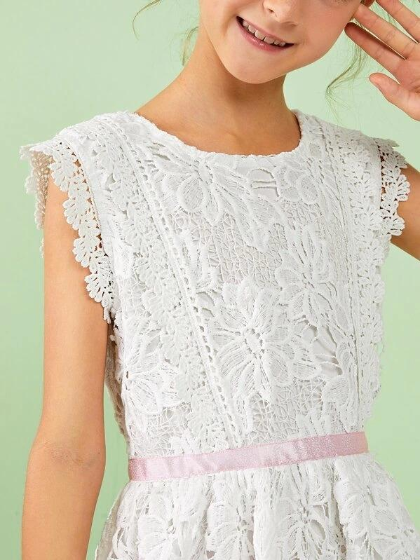 Girls Zip Back Guipure Lace Midi Dress