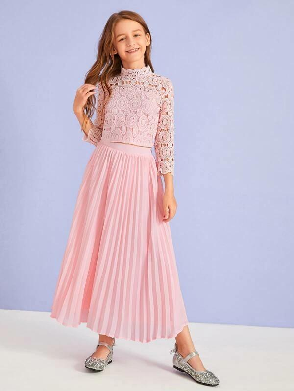 Girls Zip Back Guipure Lace Top & Pleated Skirt Set