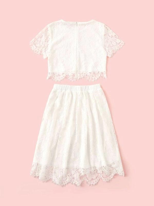 Girls Zip Back Lace Overlay Top & Skirt Set