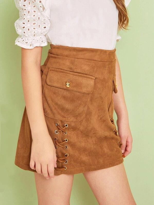 Girls Zip Back Lace Up Flap Pocket Suede Skirt
