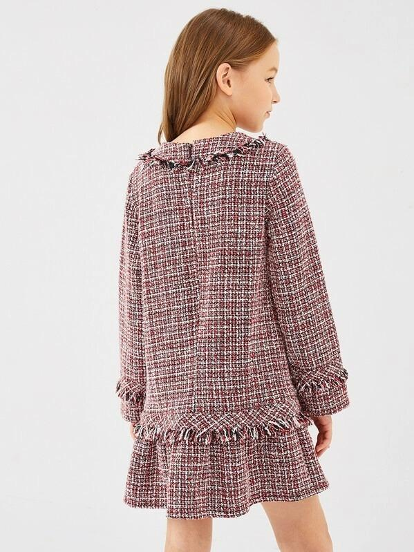 Girls Zip Back Ruffle Hem Tweed Dress