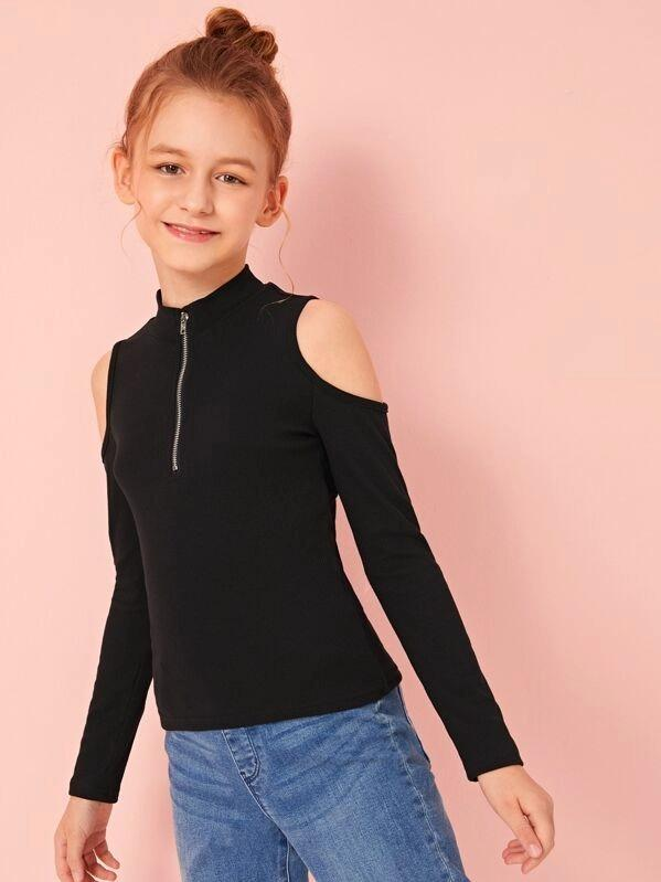 Girls Zip Front Cold Shoulder Rib-Knit Top