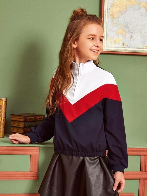 Girls Zip Half Placket Chevron Sweatshirt