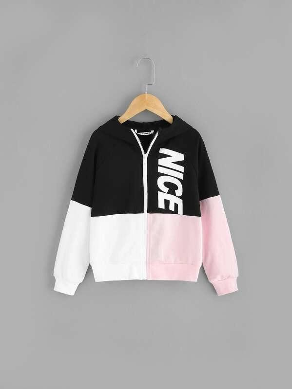 Girls Zip Up Color-Block Hoodie