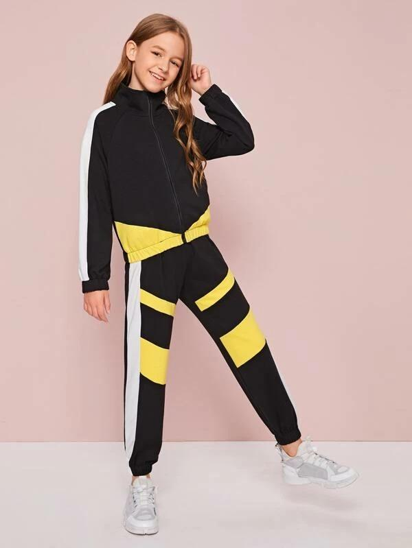 Girls Zip Up Colorblock Sweatshirt & Joggers Set