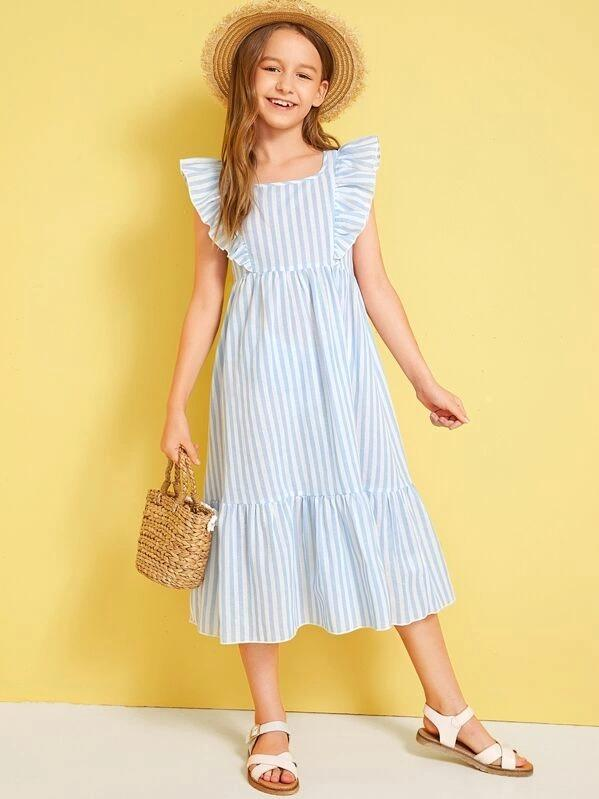 Girls Zipper Back Exaggerated Ruffle Striped Dress