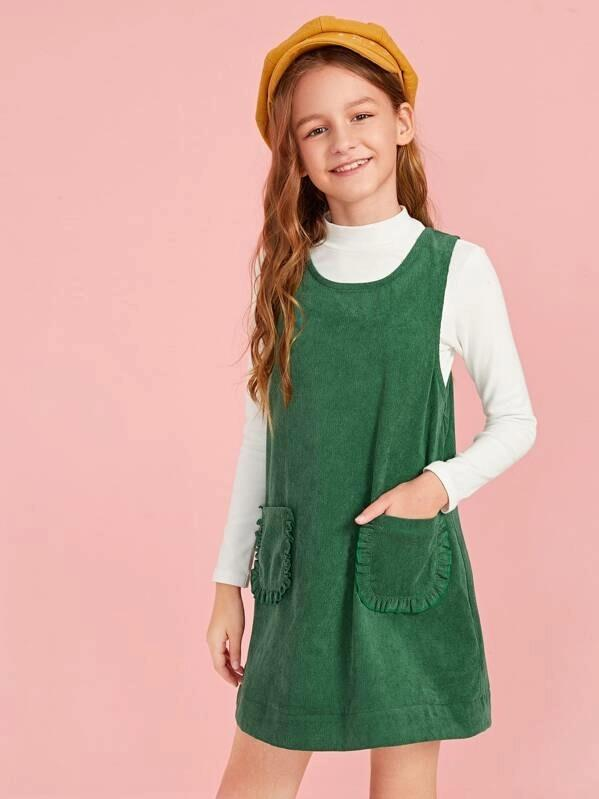 Girls Zipper Back Frilled Pocket Cord Sleeveless Dress