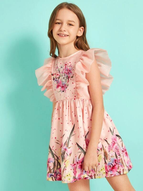 Girls Zipper Back Ruffle Armhole Flare Satin Dress