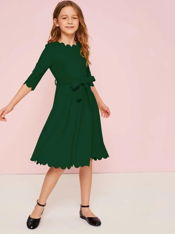 Girls Zipper Back Scallop Trim Belted Dress