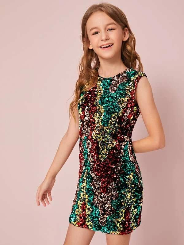 Girls Zipper Back Sleeveless Sequin Dress