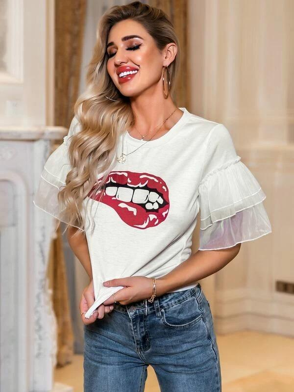 Women Glamaker Mesh Layered Sleeve Red Lip Print Tee