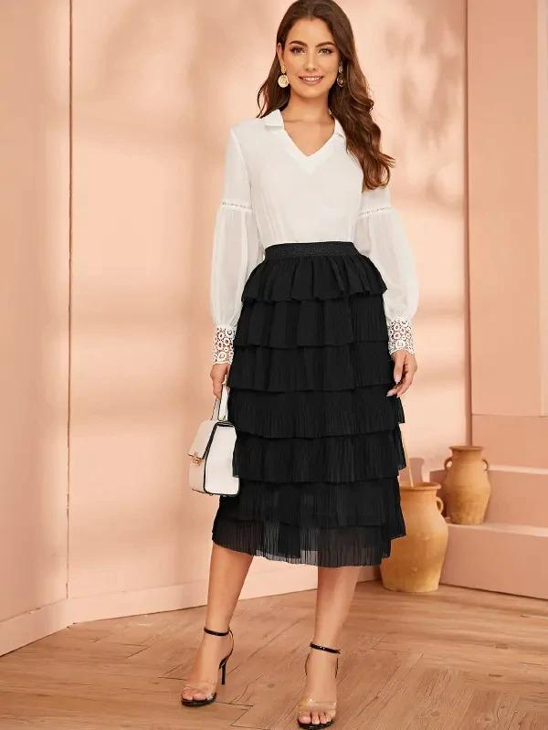 Women Glitter Waistband Pleated Layered Skirt