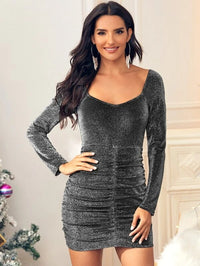 Women Glitter Ruched Front Bodycon Dress