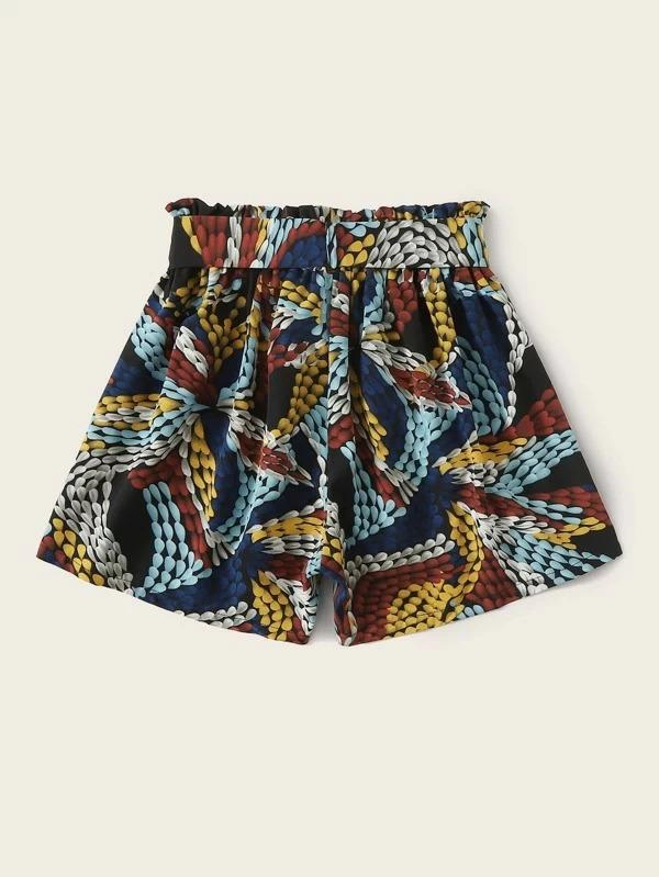 Women Graphic Print Self Belted Shorts