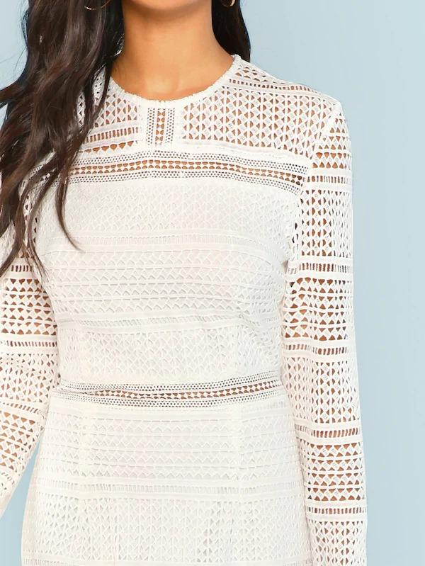 Women Guipure Lace Overlay Bodycon Dress