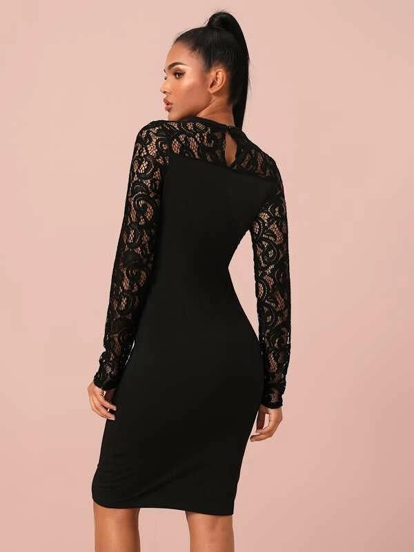 Women Guipure Lace Yoke Cut-Out Front Midi Bodycon Dress