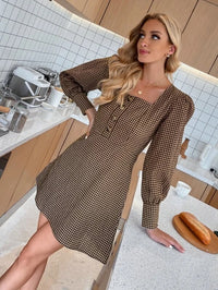 Women Half Button Bishop Sleeve Gingham Dress