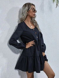 Women Half Button Ruffle Hem Smock Dress