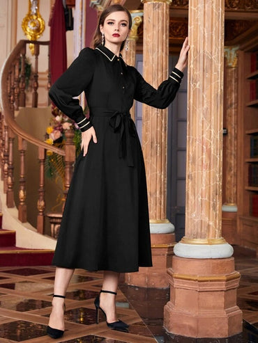 Women Half Placket Puff Sleeve Belted Shirt Dress