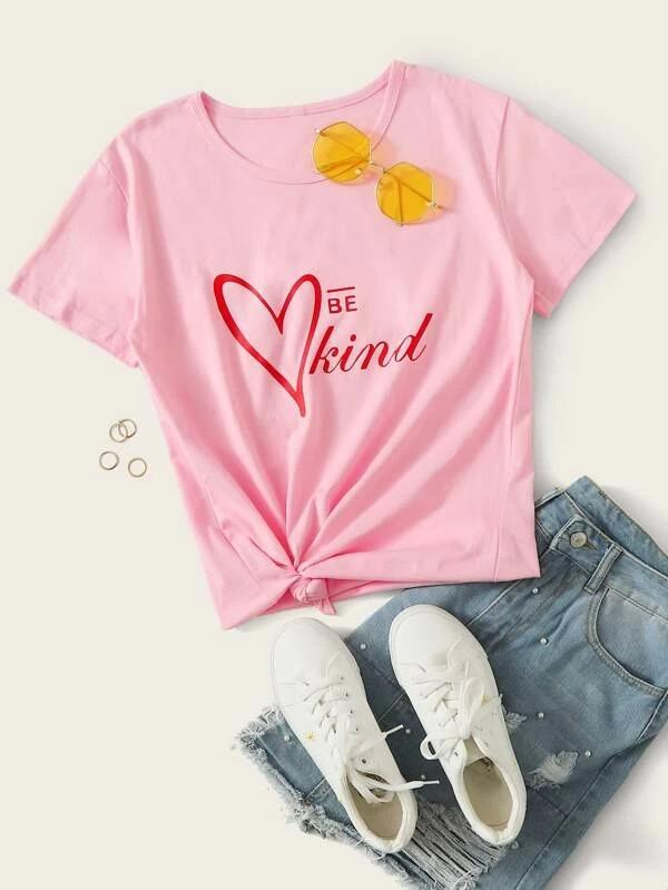 Women Heart And Letter Print Tee
