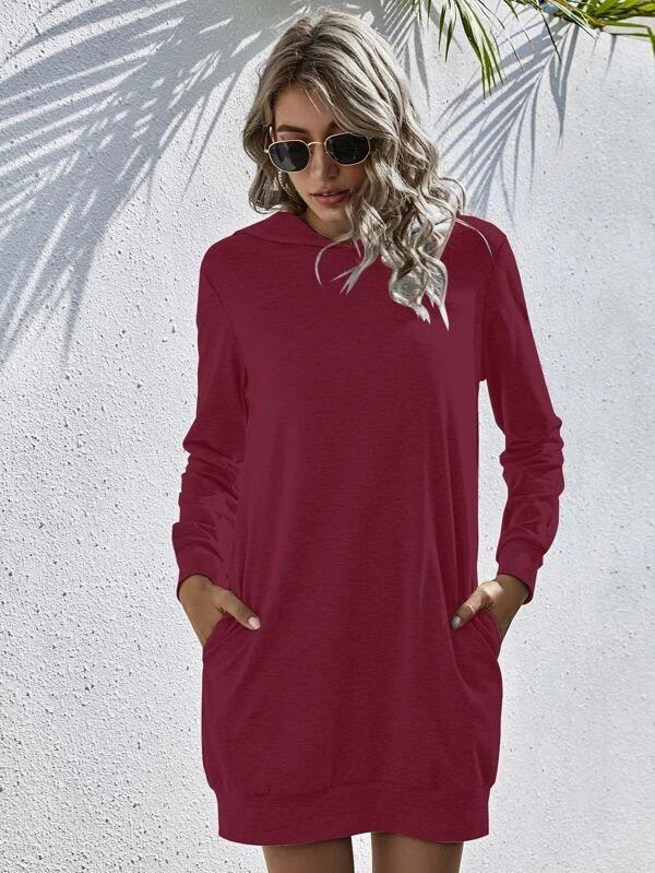 Women Hidden Pocket Solid Sweatshirt Dress