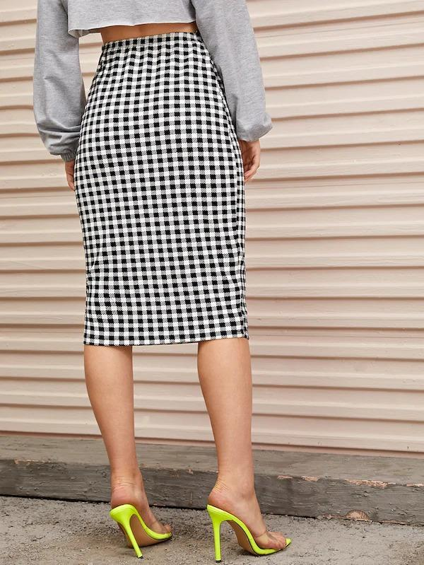 Women High Waist Gingham Print Pencil Skirt