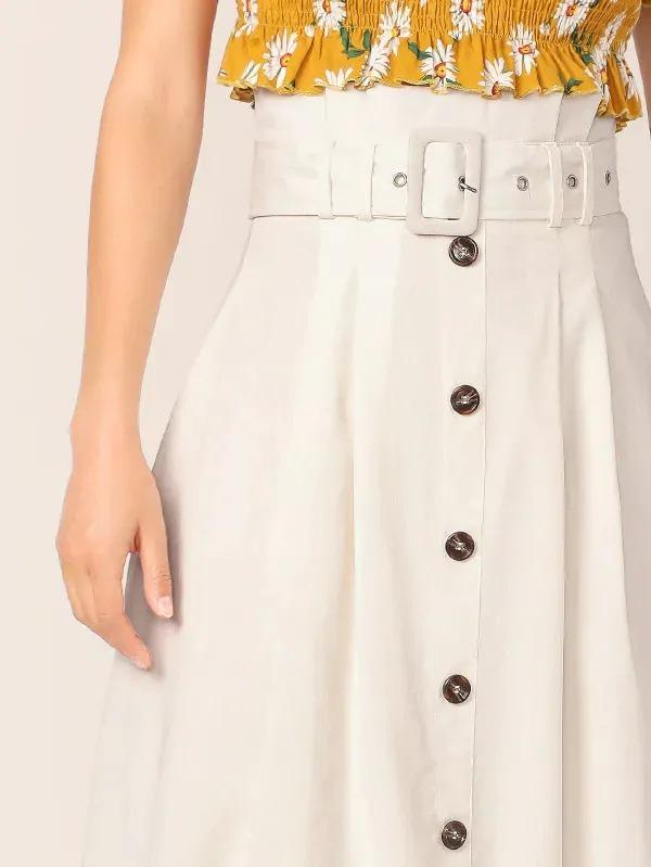 Women High Waist Grommet Buckle Belt Button Fly Skirt