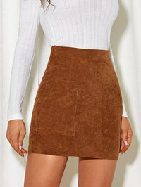Women High Waist Cord Skirt