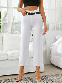 Women High Waist Roll Hem Cropped Jeans Without Belt