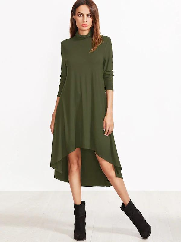 Women High Neck High Low Swing Dress