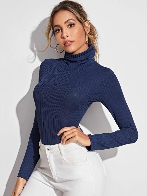 Women High Neck Rib-Knit Bodysuit