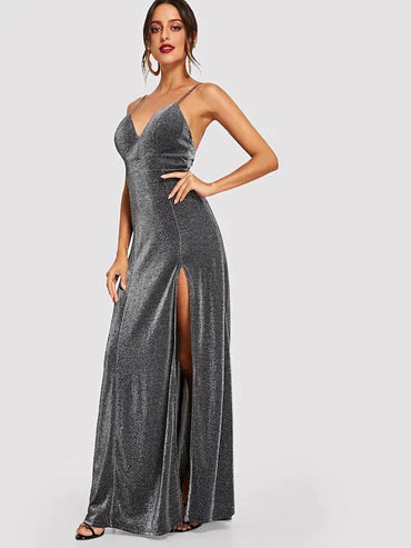Women High Split Glitter Cami Maxi Prom Dress