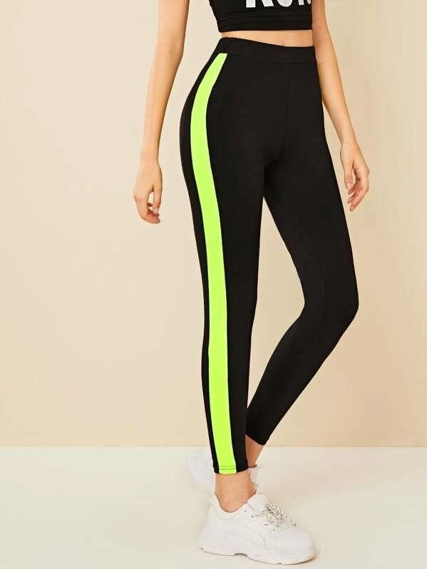 Women High Waist Contrast Neon Sideseam Leggings