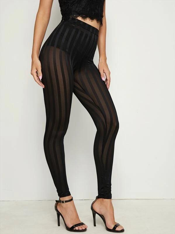 Women High Waist Striped Mesh Leggings Without Panty