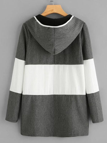 Women Hooded Color Block Ribbed Coat