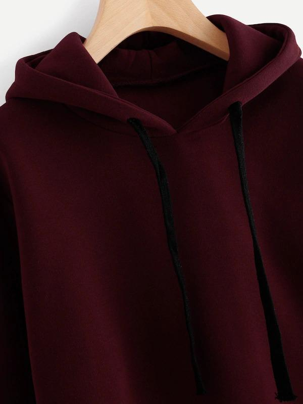 Women Hooded Drawstring Cashmere Sweatshirt