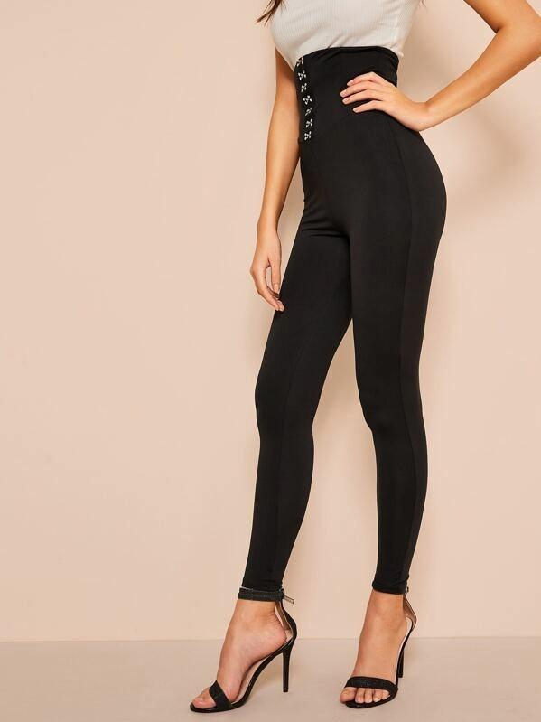 Women Hook and Eye Wide Waistband Leggings