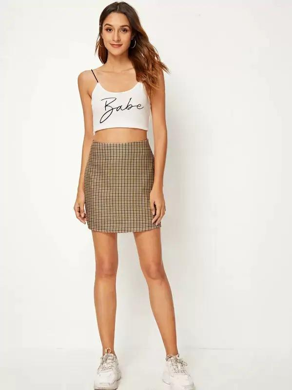 Women Houndstooth Sheath Skirt